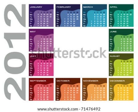 Colorful calendar 2012 - English (Sunday first) - stock vector