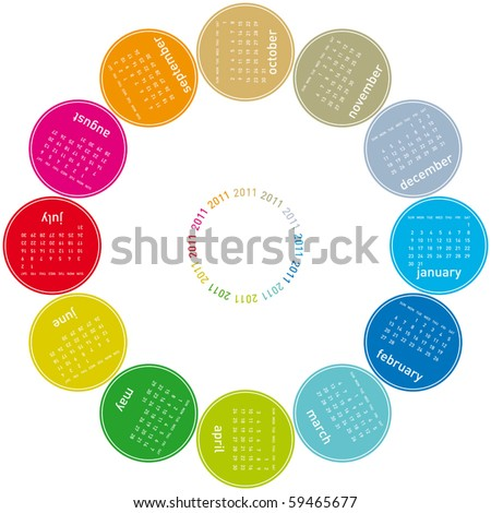 colorful calendar for 2011. Circular design. Week starts on Sunday - stock vector