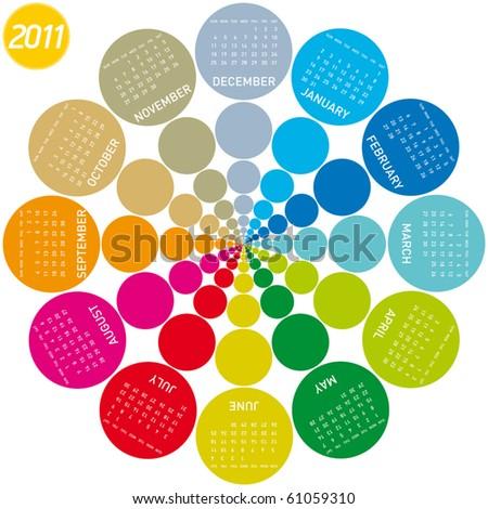 colorful calendar for 2011. Circular design. Week starts on Sunday - stock vector