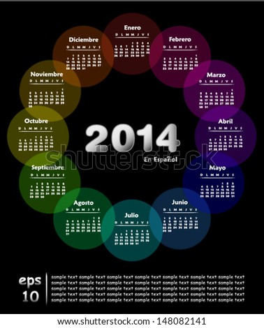 Colorful calendar for 2014 in spanish. Week starts on sunday - stock vector