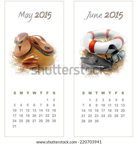Colorful calendar for May-June 2015 with seasonal design elements. Vector illustration - stock vector