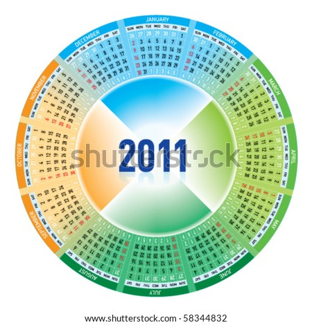 Colorful calendar for 2011. rotating design. - stock vector