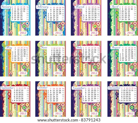 colorful calendar for 2012.Week starts on Sunday - stock vector