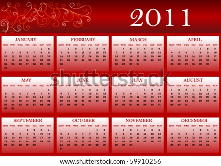 Colorful calendar for 2011, weeks start from Monday - stock vector