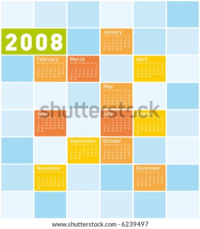 Calendar 2008 Calendar Stock Vectors & Vector Clip Art | Shutterstock