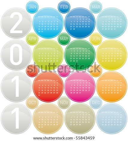 Colorful Calendar for year 2011 in a circles theme, in vector format. Week starts on Sunday. - stock vector