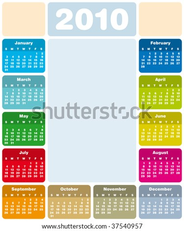 Colorful Calendar for year 2010 in vector format