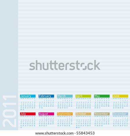 Colorful Calendar for year 2011, vector format. - stock vector