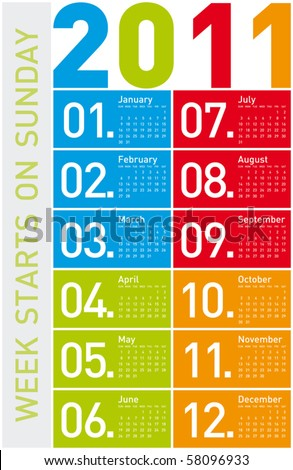Colorful Calendar for Year 2011, week starts on Sunday. - stock vector
