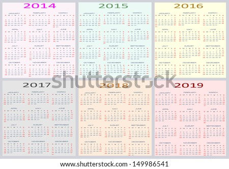 Colorful Calendar for years 2014 - 2019, easy editable, weeks start on Sunday - stock vector