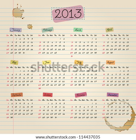 Colorful 2013 Calendar in vintage style. Weeks start with Sunday. Vector illustration. Easy to edit. - stock vector