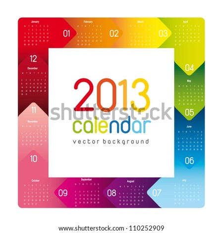 colorful 2013 calendar, square shape. vector illustration