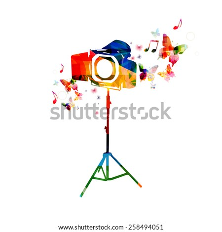 Colorful camera background with butterflies - stock vector