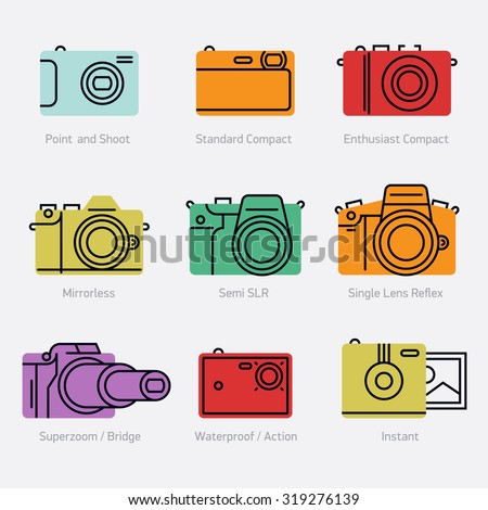 Colorful camera types vector icons in trendy flat line design   Digital photo camera types with names. Ideal for photography store web and graphic design - stock vector