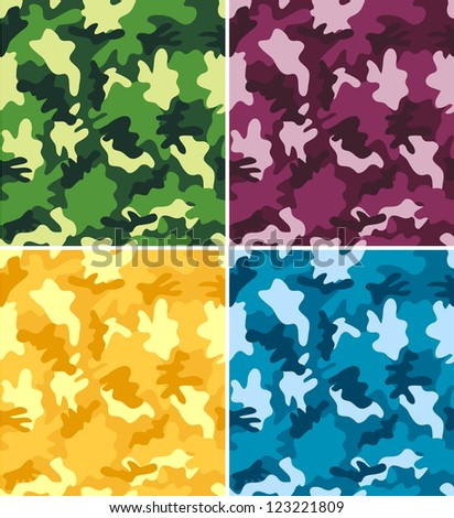 Colorful Camouflage Seamless Patterns - stock vector