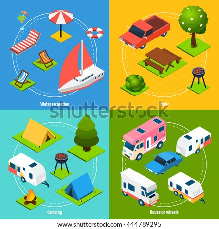 Colorful camping and travel isometric 2x2 icons set with house on wheels elements for water recreation and picnic isolated vector illustration - stock vector