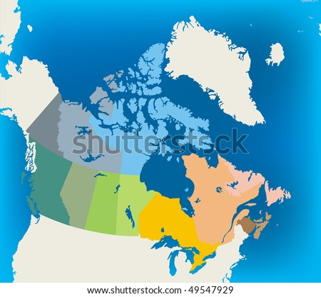 colorful canada map - stock vector