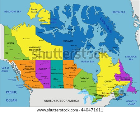 Colorful Canada Political Map Clearly Labeled Stock Vector 440471611
