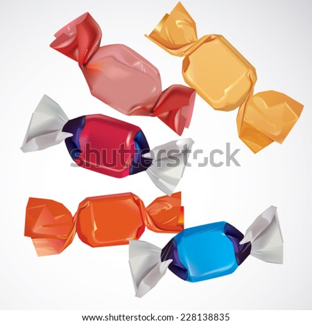 colorful candies collection on white background - stock vector