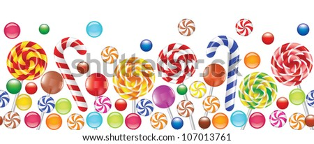 colorful candies, fruit bonbon, lollipop seamless horizontal background - stock vector