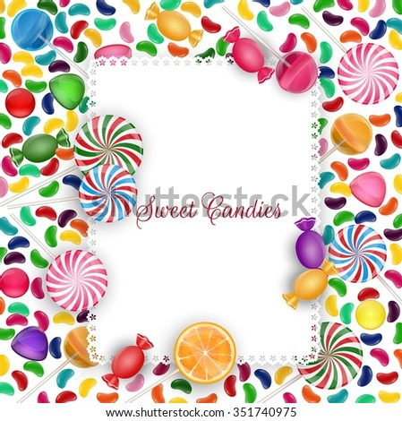 Colorful candy background with jelly beans, lolipop and orange slice .Vector