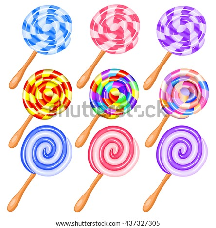 Colorful candy lollipops set of icons - the vortex of lollipops vector illustration.
