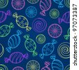 Colorful Candy Silhouette Seamless Pattern on Dark Blue Background - stock