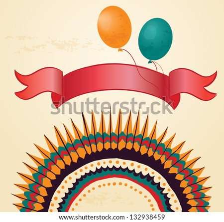 Colorful card with balloons and strip, vintage background - stock vector