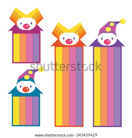 Colorful cartoon bookmarks: clowns with rainbow isolated on white background - stock vector