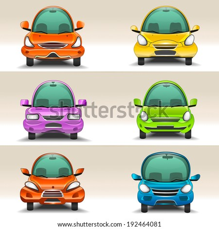 Colorful cartoon cars  front view - stock vector
