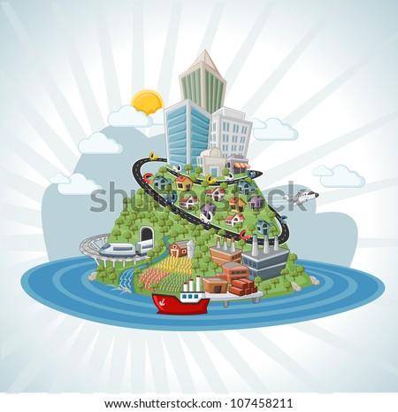 Colorful cartoon city - stock vector