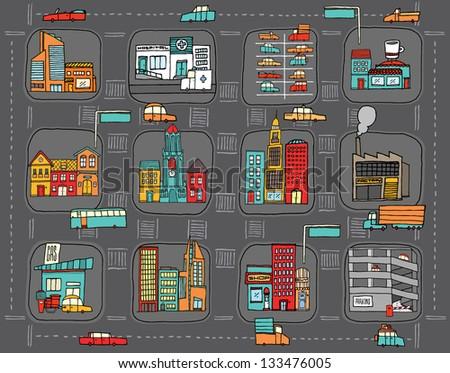 Colorful cartoon city map - stock vector