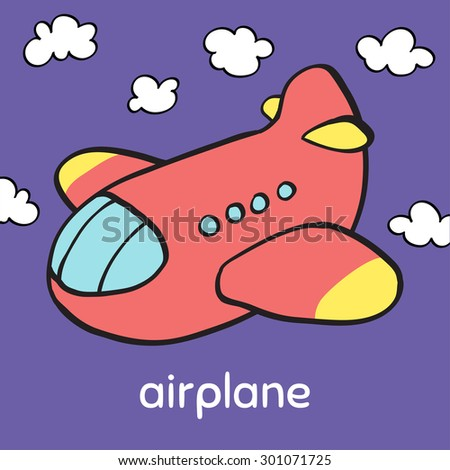 Colorful cartoon cute toy airplane in sky. Baby's first words/Memory/Bingo/Match game printable flash card design. English alphabet - Letter A - airplane. Outline vector clip art eps 10 illustration. - stock vector