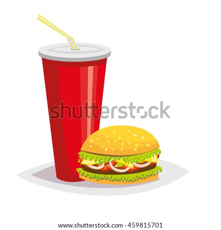 Colorful cartoon fast food icon on white background. Drink with a hamburger. Isolated vector illustration. Eps 10.