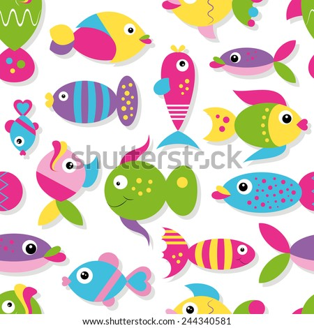 colorful cartoon fish collection pattern