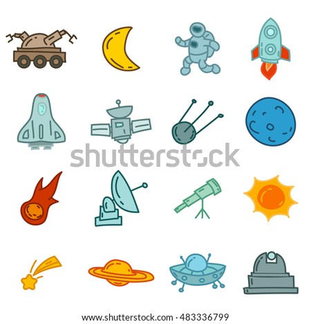 Colorful cartoon funny doodles space elements. Hand drawn objects and symbols. Vector illustration for backgrounds, web design, design elements, textile prints, covers, greeting cards.