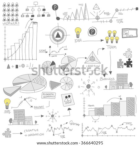 Colorful cartoon graphics for business - stock vector