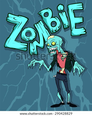 Colorful cartoon halloween illustration with a funny zombie character - stock vector