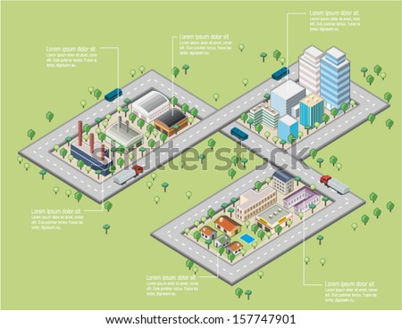 Colorful cartoon isometric city with river - stock vector
