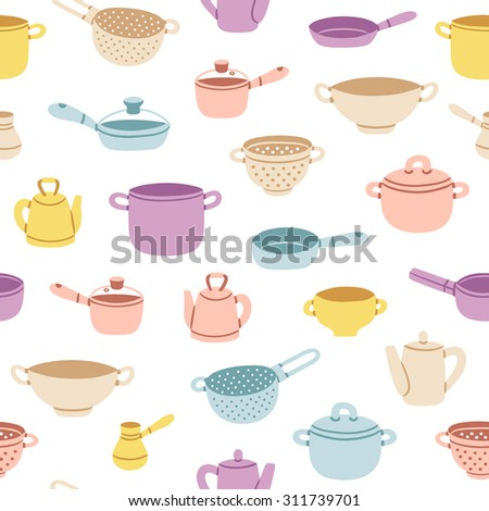 Colorful cartoon kitchenware vector seamless pattern - stock vector