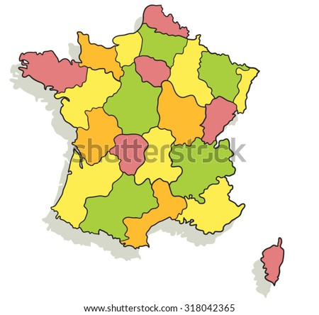 Colorful cartoon map of France - stock vector