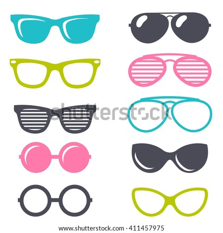 colorful cartoon retro sunglasses set - stock vector