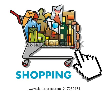 Colorful  cartoon shopping cart or trolley full of groceries with a computer cursor hand and the word shopping below - stock vector