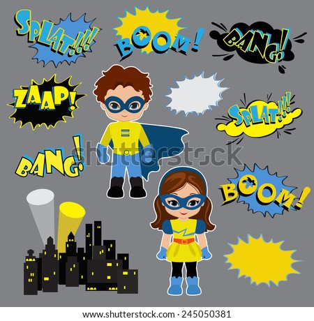 Colorful cartoon text captions. Explosions and noises. Super Boy and Super Girl. - stock vector