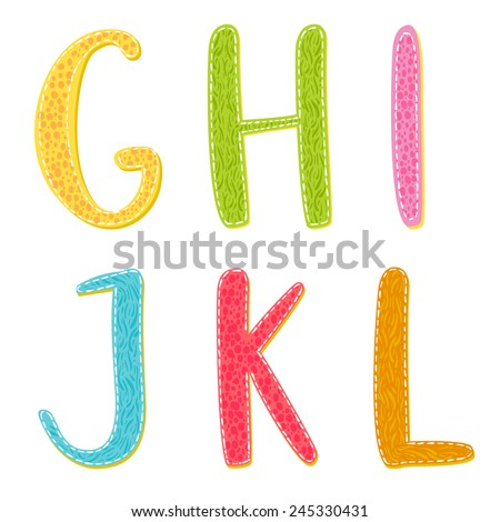 Colorful cartoon vector letters with hand drawn texture. Latin alphabet: G, H, I, J, K, L. - stock vector