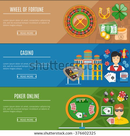 Colorful Casino And Gambling Flat Banners Set. Texas Hold'em Poker. Try Your Fortune. Welcome To Casino. - stock vector