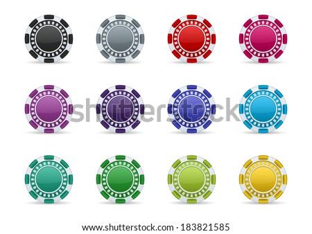 Colorful casino chips icon set on a white background. Transparent shades.  - stock vector