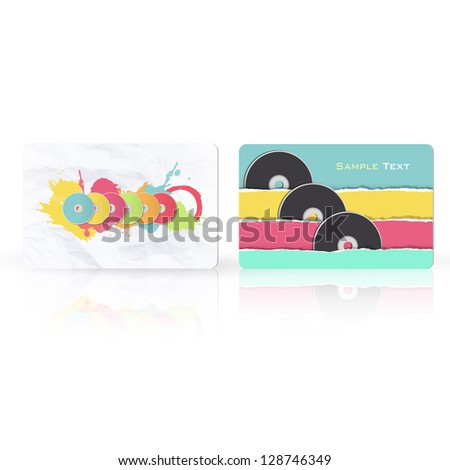 Colorful CDs inside a business card. Vector design - stock vector