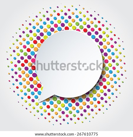 Colorful celebrating background with confeti and speech bubble. Vector EPS10. - stock vector
