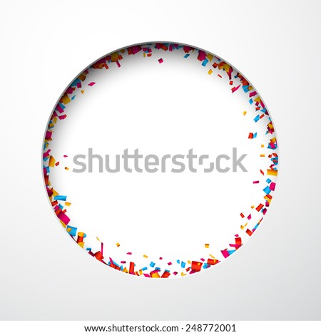 Colorful celebration background with confetti. Hole in paper. Vector Illustration. - stock vector